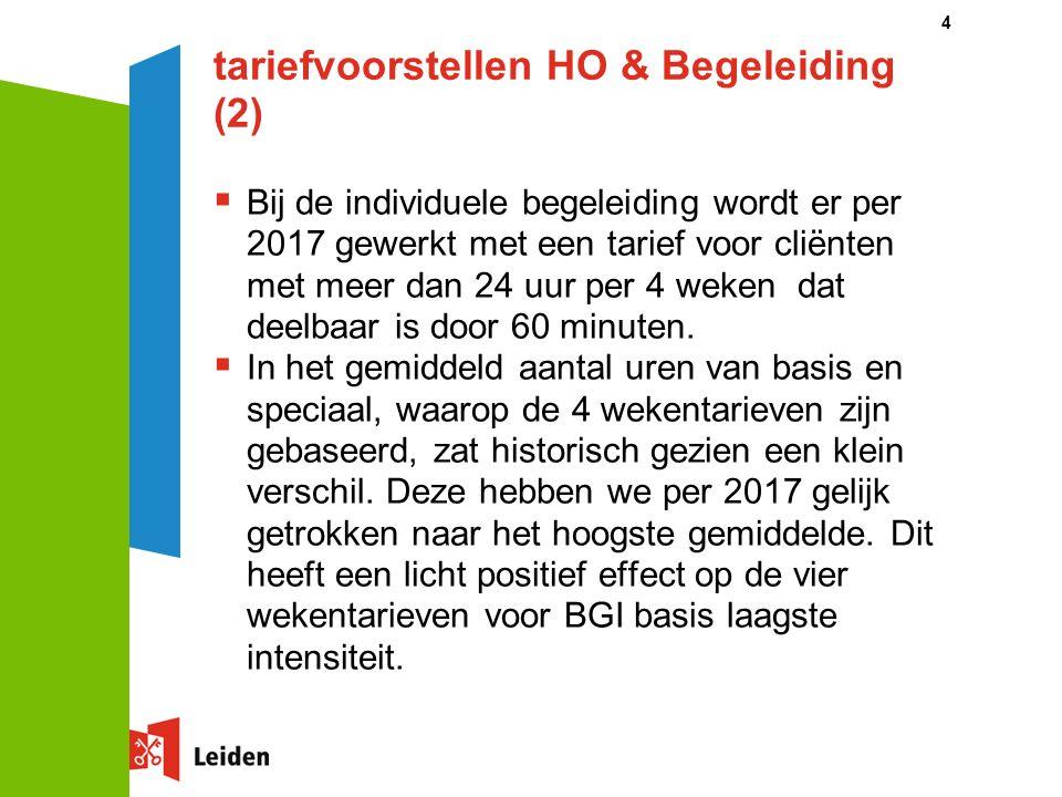 tariefvoorstellen HO & Begeleiding (2)  Bij de individuele begeleiding wordt er per 2017 gewerkt met een tarief voor cliënten met meer dan 24 uur per 4 weken dat deelbaar is door 60 minuten.