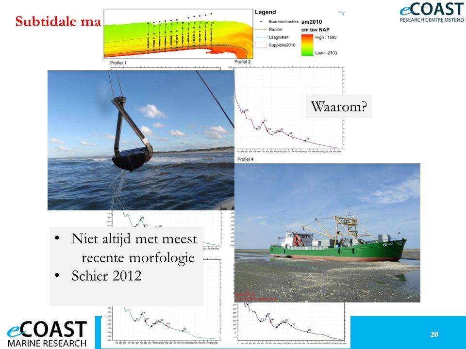Subtidale macrofauna: methodologie 20Workshop 13 juni 2013 Niet altijd met meest recente morfologie Schier 2012 Waarom