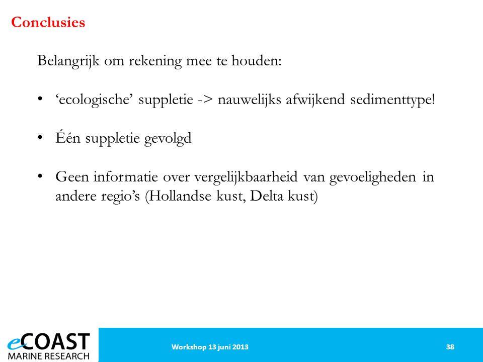 Conclusies Belangrijk om rekening mee te houden: 'ecologische' suppletie -> nauwelijks afwijkend sedimenttype.