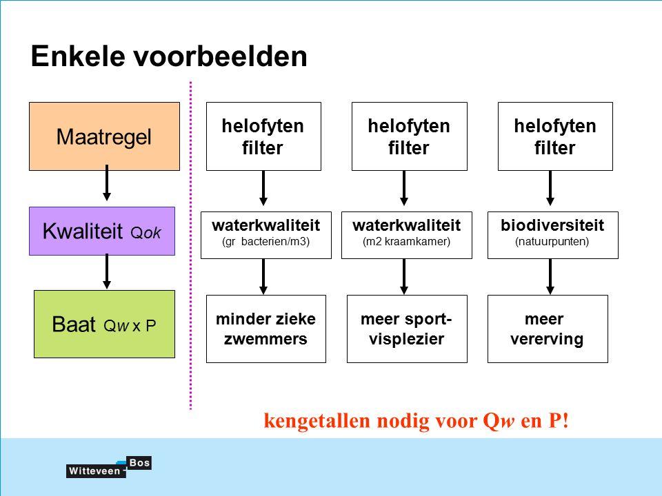 Enkele voorbeelden Maatregel Kwaliteit Qok Baat Qw x P helofyten filter waterkwaliteit (gr bacterien/m3) minder zieke zwemmers kengetallen nodig voor Qw en P.