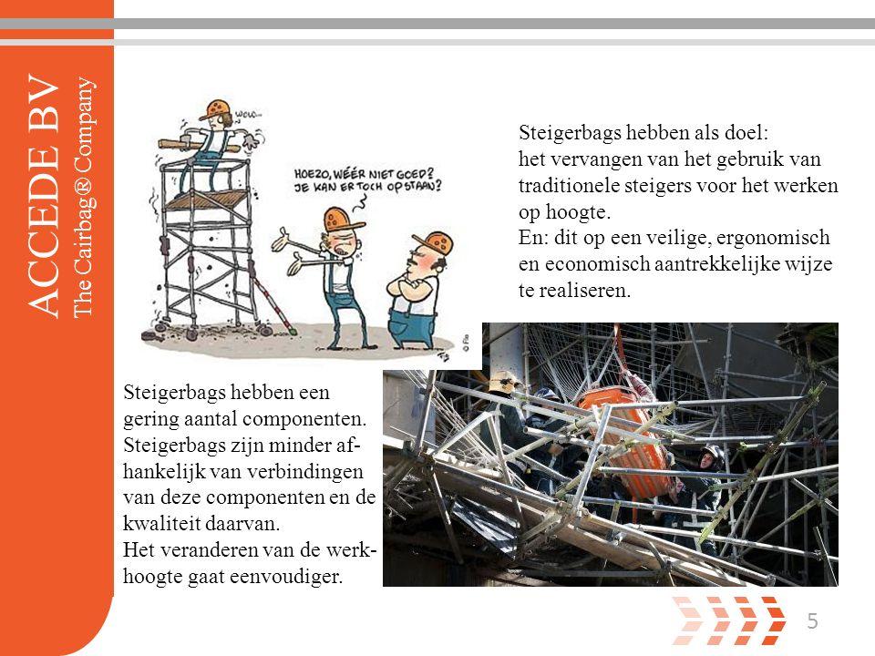 5 ACCEDE BV The Cairbag® Company Steigerbags hebben als doel: het vervangen van het gebruik van traditionele steigers voor het werken op hoogte.