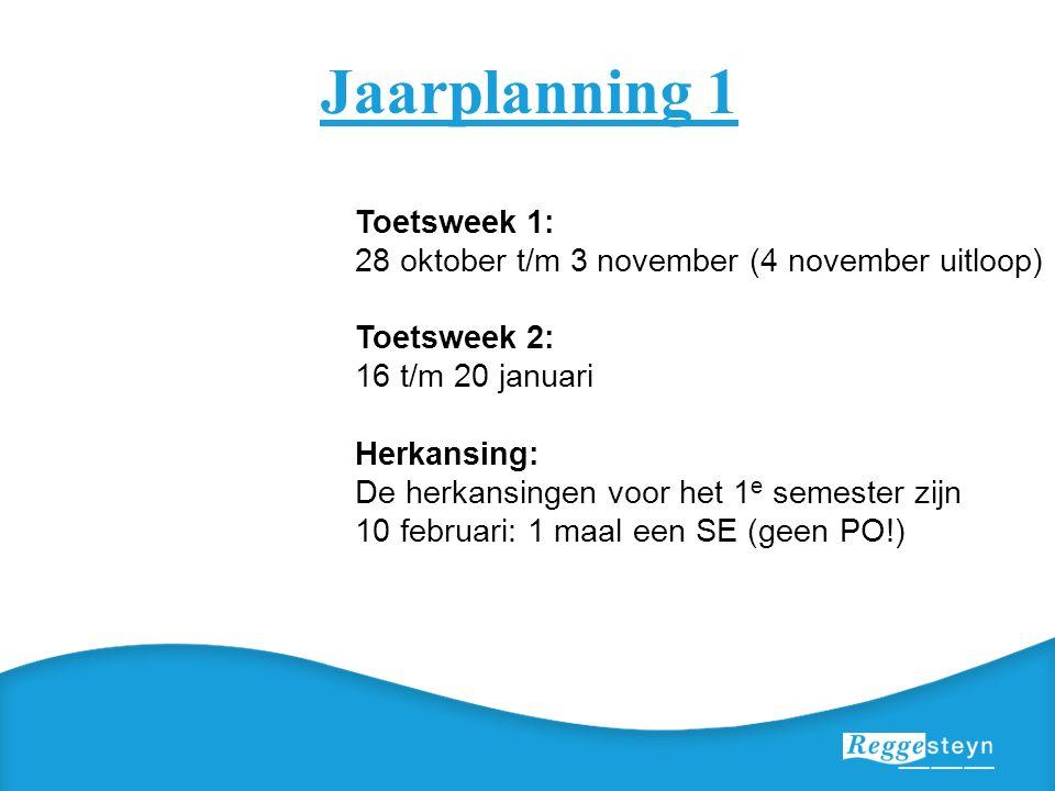 Jaarplanning 1 Toetsweek 1: 28 oktober t/m 3 november (4 november uitloop) Toetsweek 2: 16 t/m 20 januari Herkansing: De herkansingen voor het 1 e semester zijn 10 februari: 1 maal een SE (geen PO!)