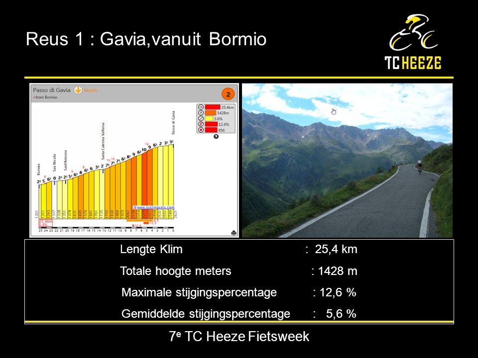 Reus 1 : Gavia,vanuit Bormio Lengte Klim : 25,4 km Totale hoogte meters: 1428 m Maximale stijgingspercentage : 12,6 % Gemiddelde stijgingspercentage : 5,6 %
