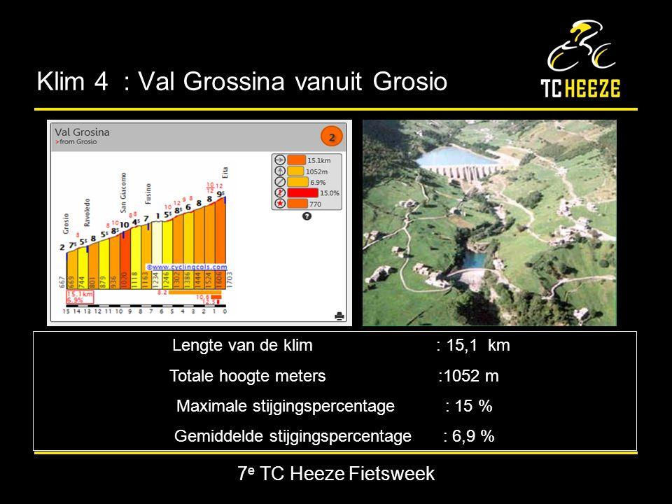 7 e TC Heeze Fietsweek Klim 4 : Val Grossina vanuit Grosio Lengte van de klim : 15,1 km Totale hoogte meters:1052 m Maximale stijgingspercentage : 15 % Gemiddelde stijgingspercentage : 6,9 %