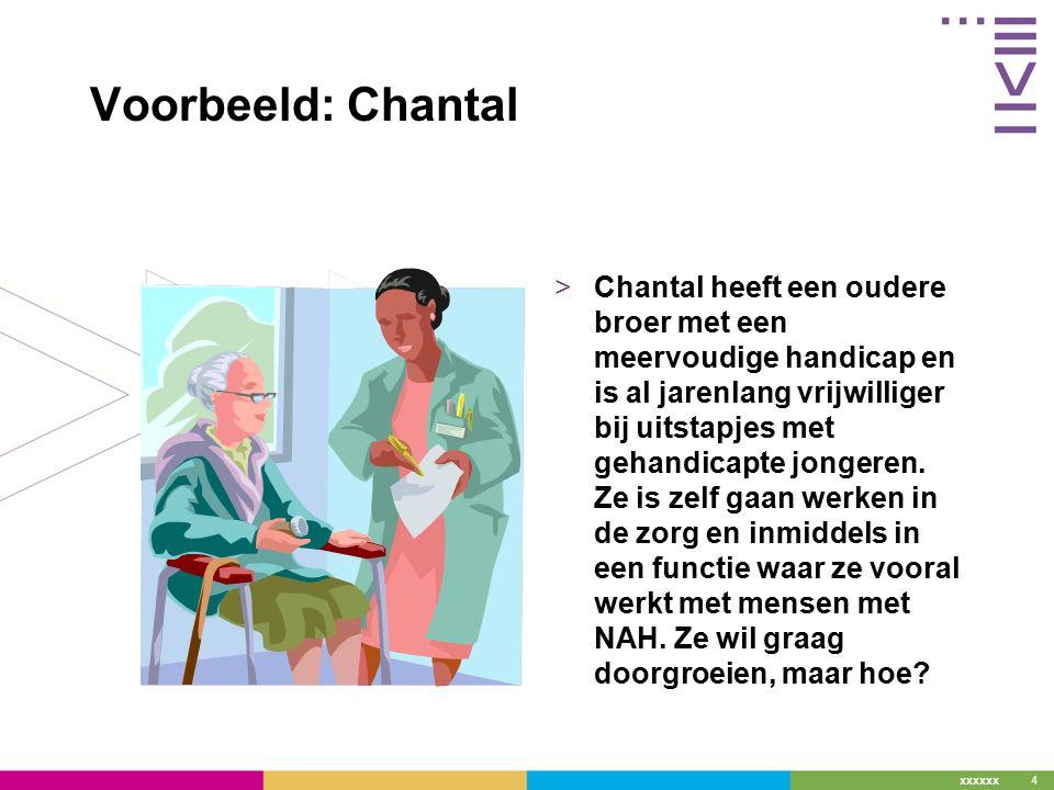 4 Voorbeeld: Chantal >Chantal heeft een oudere broer met een meervoudige handicap en is al jarenlang vrijwilliger bij uitstapjes met gehandicapte jongeren.