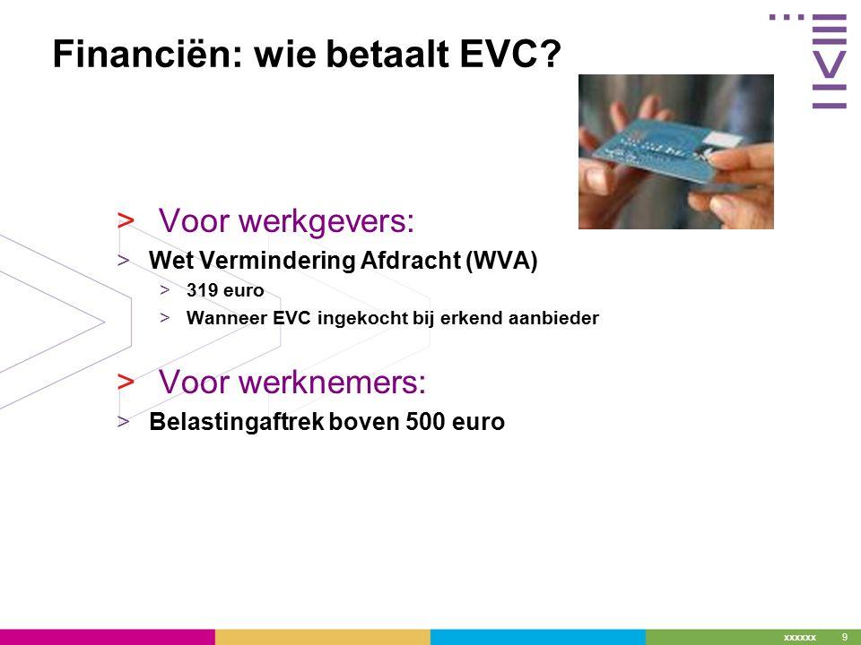 xxxxxx Financiën: wie betaalt EVC.