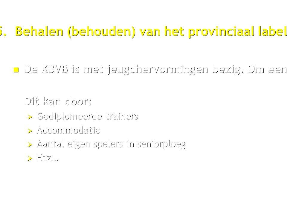 5. Behalen (behouden) van het provinciaal label. De KBVB is met jeugdhervormingen bezig.