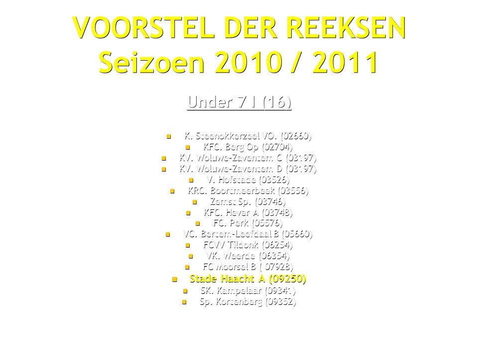 VOORSTEL DER REEKSEN Seizoen 2010 / 2011 Under 7 I (16) K.