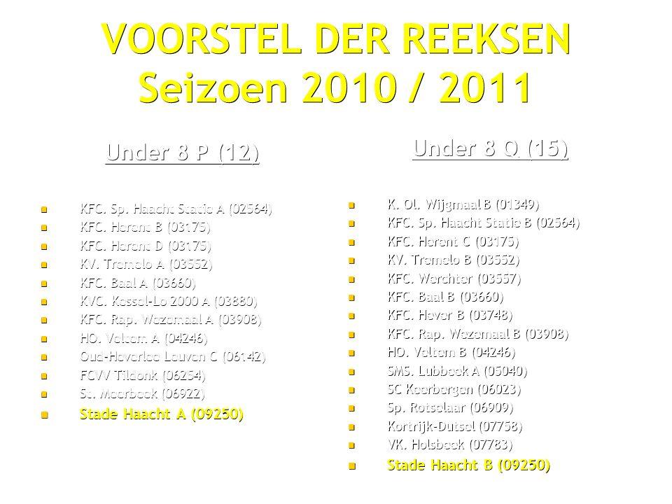 VOORSTEL DER REEKSEN Seizoen 2010 / 2011 Under 8 P (12) KFC.