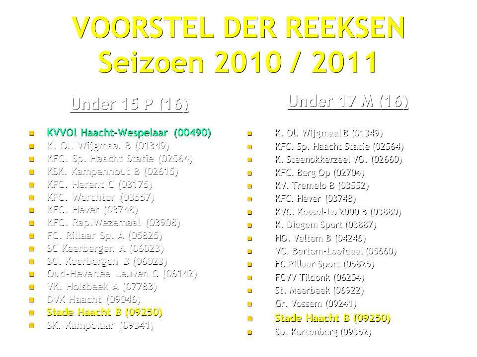 VOORSTEL DER REEKSEN Seizoen 2010 / 2011 Under 15 P (16) KVVOl Haacht-Wespelaar (00490) KVVOl Haacht-Wespelaar (00490) K.