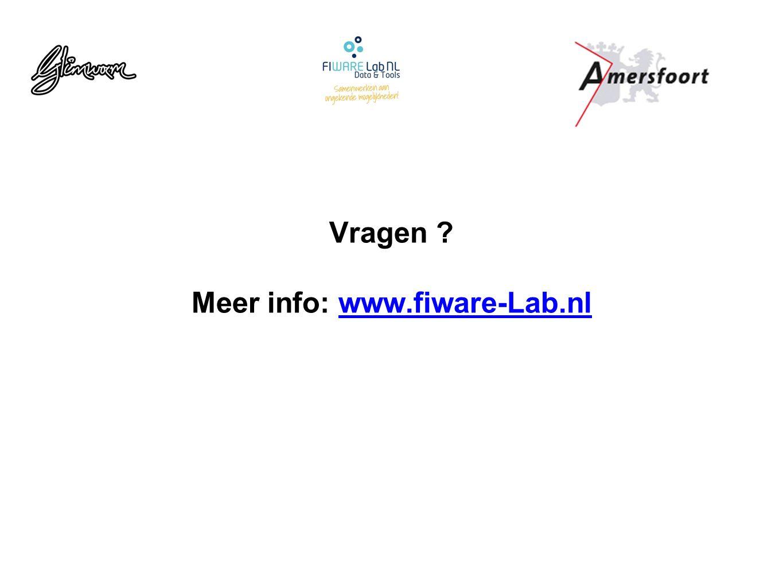 Vragen ? Meer info: www.fiware-Lab.nlwww.fiware-Lab.nl