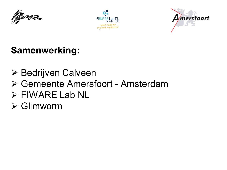 Samenwerking:  Bedrijven Calveen  Gemeente Amersfoort - Amsterdam  FIWARE Lab NL  Glimworm
