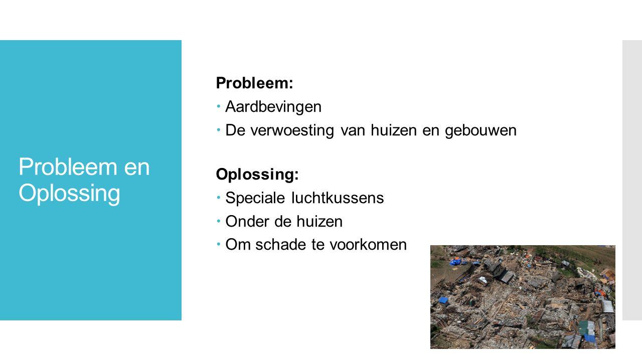 Probleem en Oplossing Probleem:  Aardbevingen  De verwoesting van huizen en gebouwen Oplossing:  Speciale luchtkussens  Onder de huizen  Om schade te voorkomen