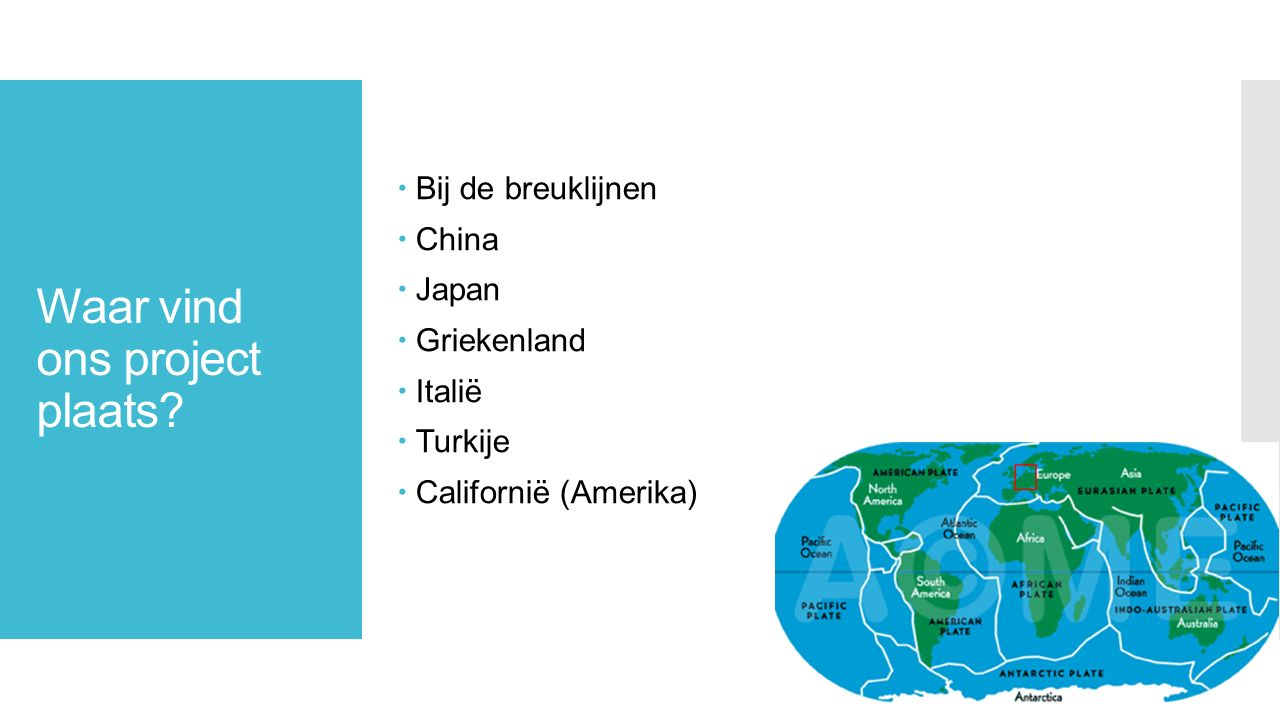 In welke tijd is ons project?  In het jaar 2080  11 miljard mensen  Aardbeving + gewonden