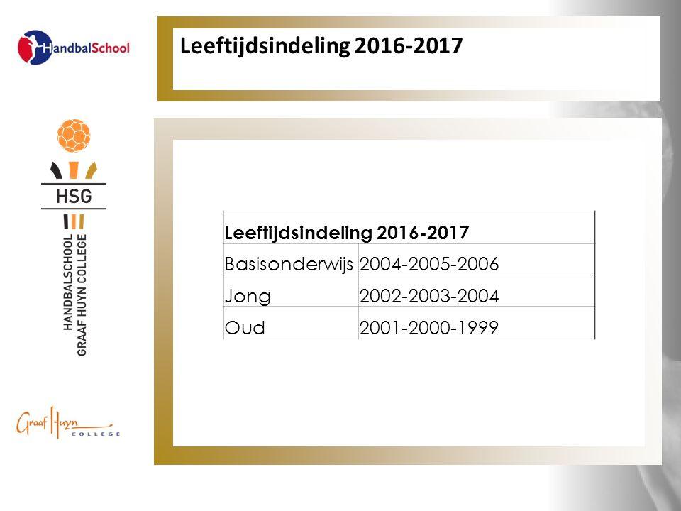 Leeftijdsindeling 2016-2017 Basisonderwijs2004-2005-2006 Jong2002-2003-2004 Oud2001-2000-1999