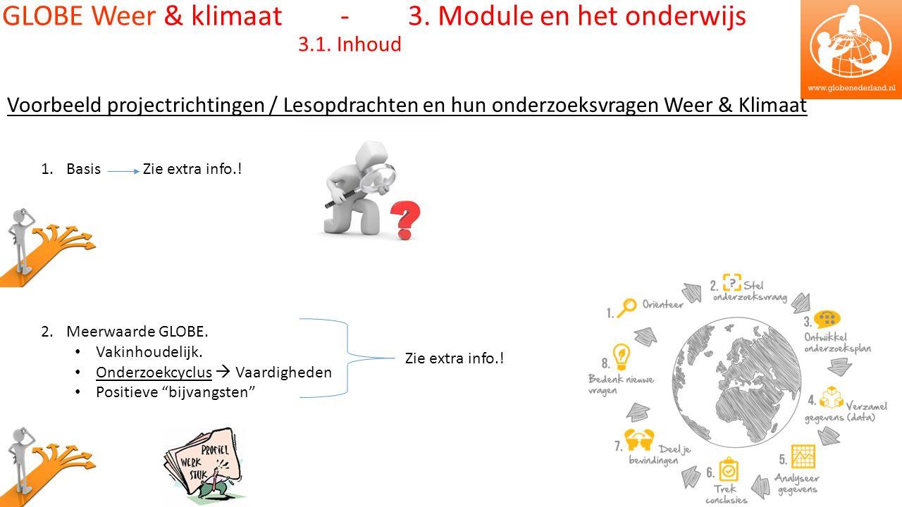 Voorbeeld projectrichtingen / Lesopdrachten en hun onderzoeksvragen Weer & Klimaat 1.Basis Zie extra info..