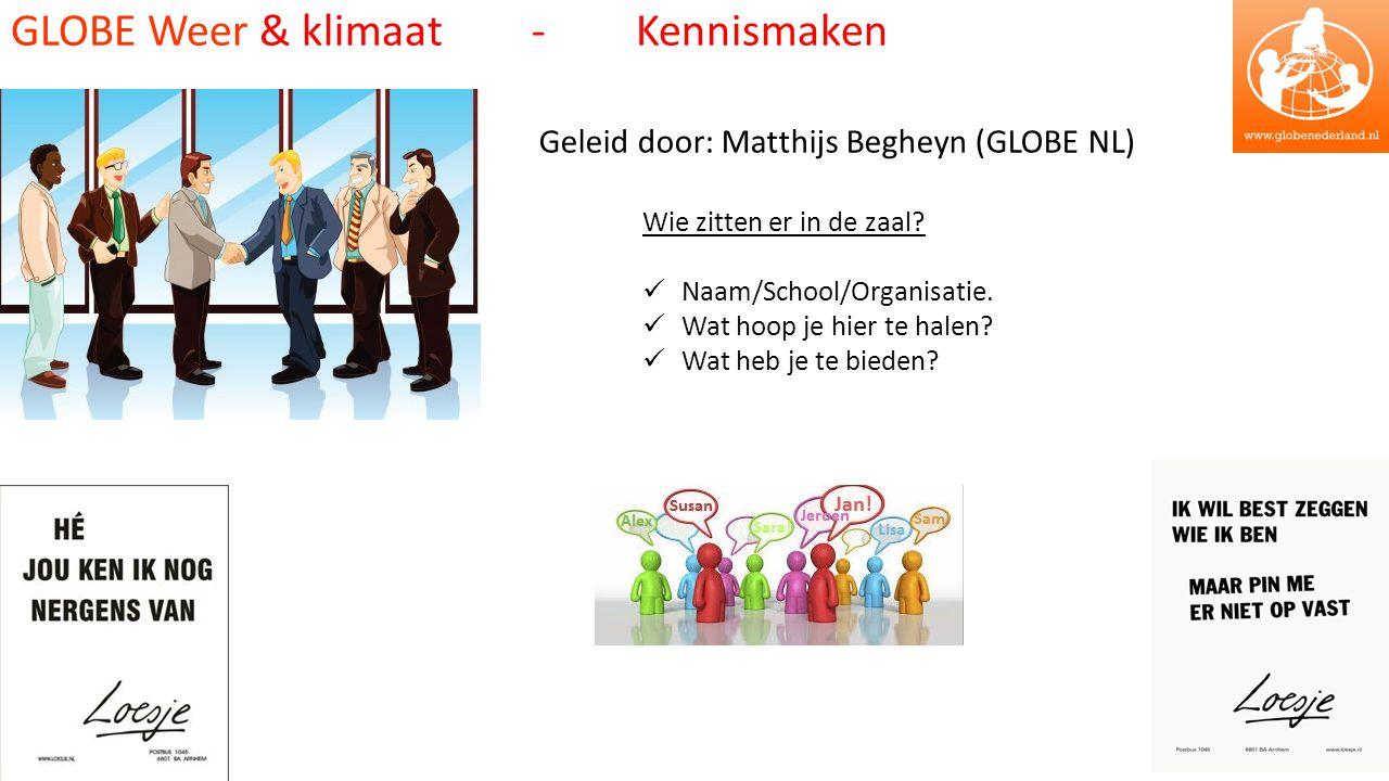 GLOBE Weer & klimaat - Kennismaken Geleid door: Matthijs Begheyn (GLOBE NL) Wie zitten er in de zaal.