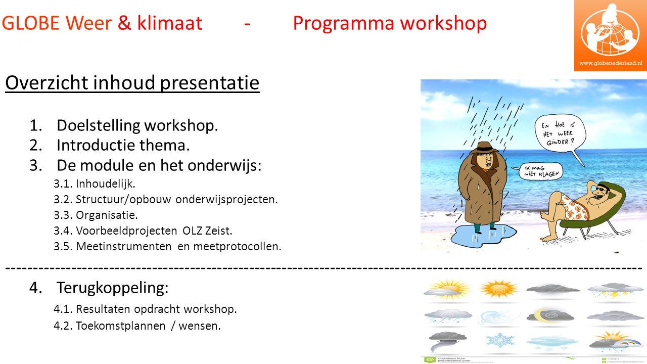 Overzicht inhoud presentatie 1.Doelstelling workshop.