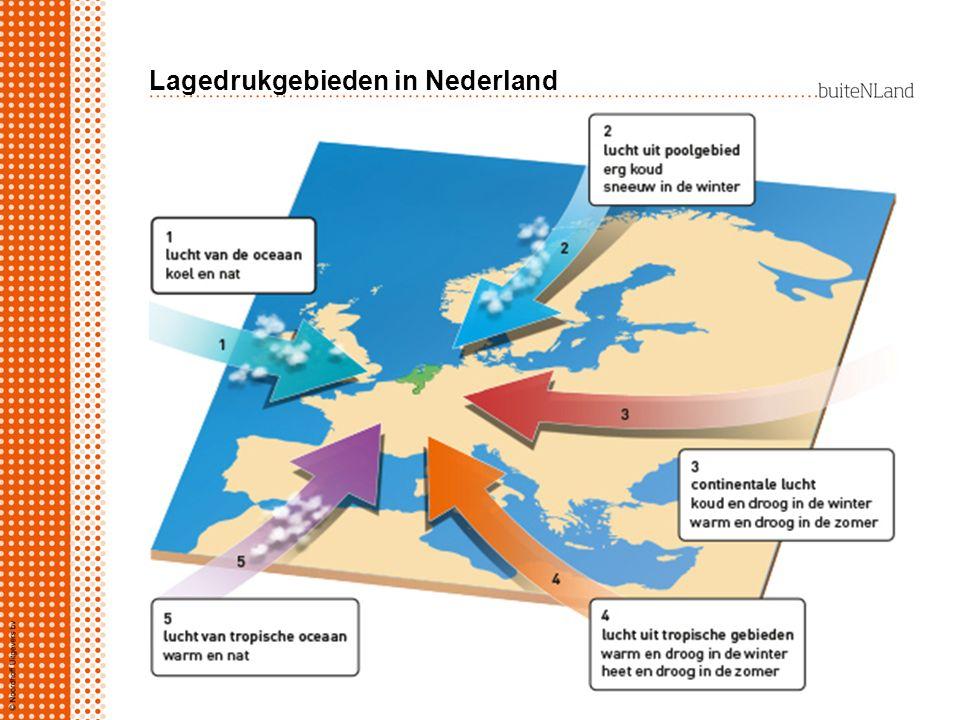 Lagedrukgebieden in Nederland Nederland ligt in gordel van lagedrukgebieden: warme lucht uit zuiden botst met koude lucht uit noorden warme lucht stij