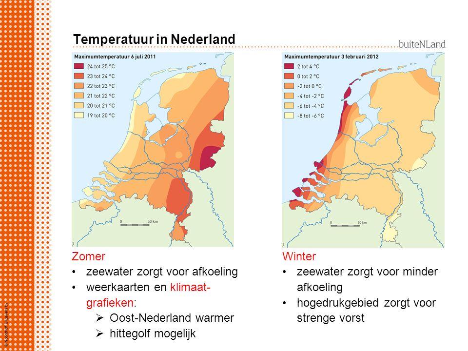 Temperatuur in Nederland Zomer zeewater zorgt voor afkoeling weerkaarten en klimaat- grafieken:  Oost-Nederland warmer  hittegolf mogelijk Winter ze