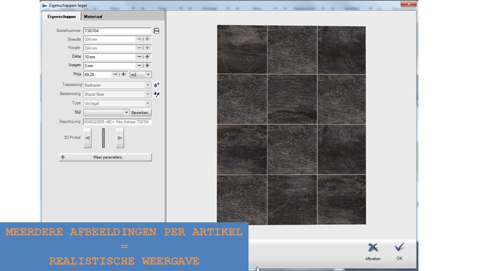 Oefening Open een demo project => ga naar TEGELS GEBIED alles wissen => selecteer een paar tegels => plaats deze in het project mandje => plaats ze in je favorieten => zet de tegels op diverse manieren 2D / 3D => verplaats het startpunt