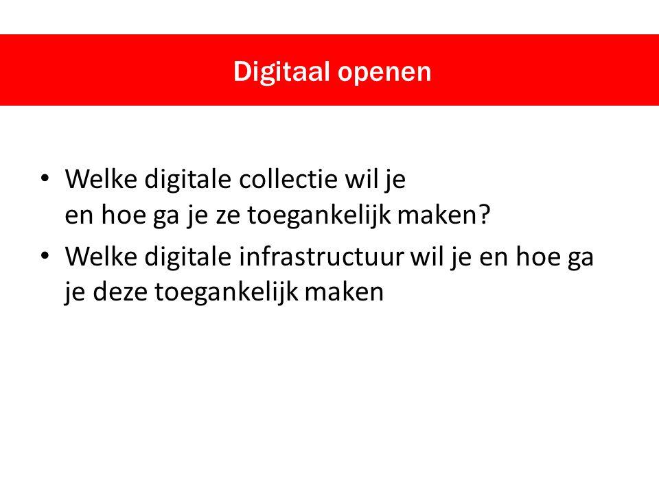 Welke digitale collectie wil je en hoe ga je ze toegankelijk maken? Welke digitale infrastructuur wil je en hoe ga je deze toegankelijk maken Digitaal