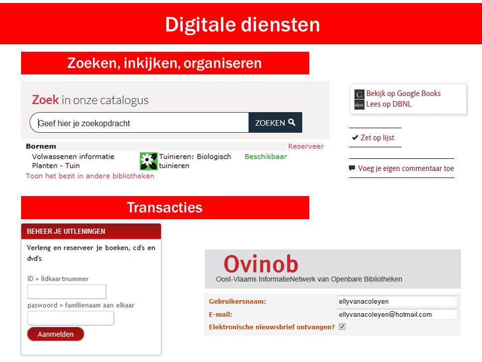 Digitale diensten Zoeken, inkijken, organiseren Transacties