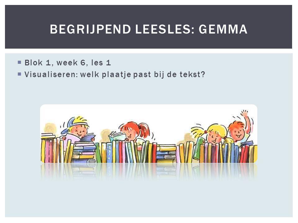  Blok 1, week 6, les 1  Visualiseren: welk plaatje past bij de tekst BEGRIJPEND LEESLES: GEMMA