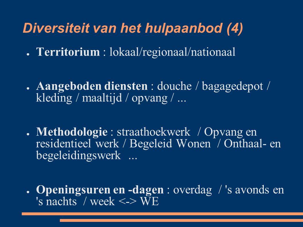 Diversiteit van het hulpaanbod (4) ● Territorium : lokaal/regionaal/nationaal ● Aangeboden diensten : douche / bagagedepot / kleding / maaltijd / opvang /...