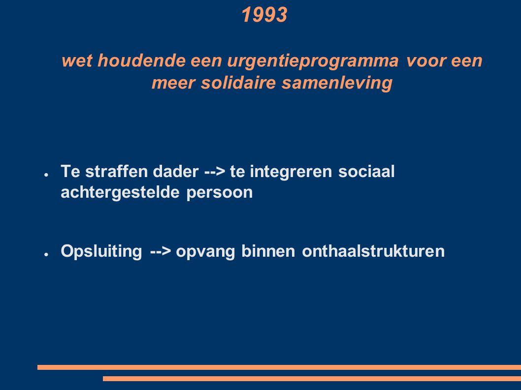1993 wet houdende een urgentieprogramma voor een meer solidaire samenleving ● Te straffen dader --> te integreren sociaal achtergestelde persoon ● Opsluiting --> opvang binnen onthaalstrukturen