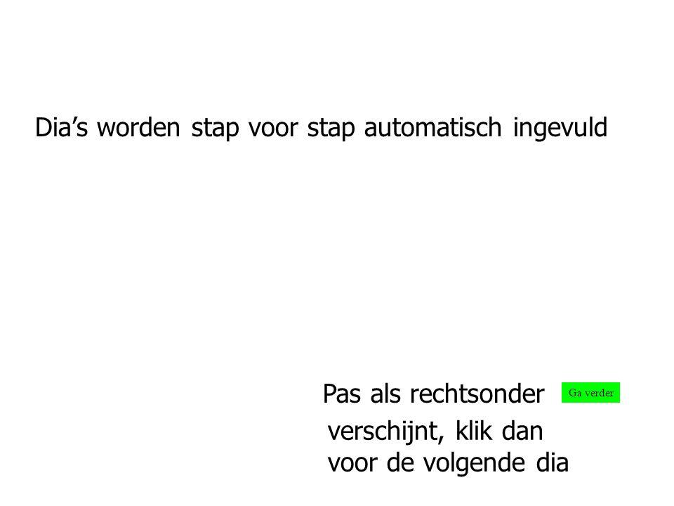 Dia's worden stap voor stap automatisch ingevuld Ga verder Pas als rechtsonder verschijnt, klik dan voor de volgende dia