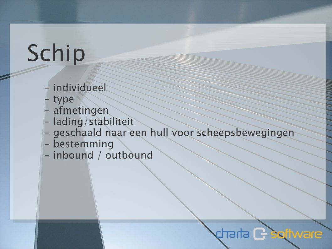 11 januari 20116 Schip - individueel - type - afmetingen - lading/stabiliteit - geschaald naar een hull voor scheepsbewegingen - bestemming - inbound / outbound