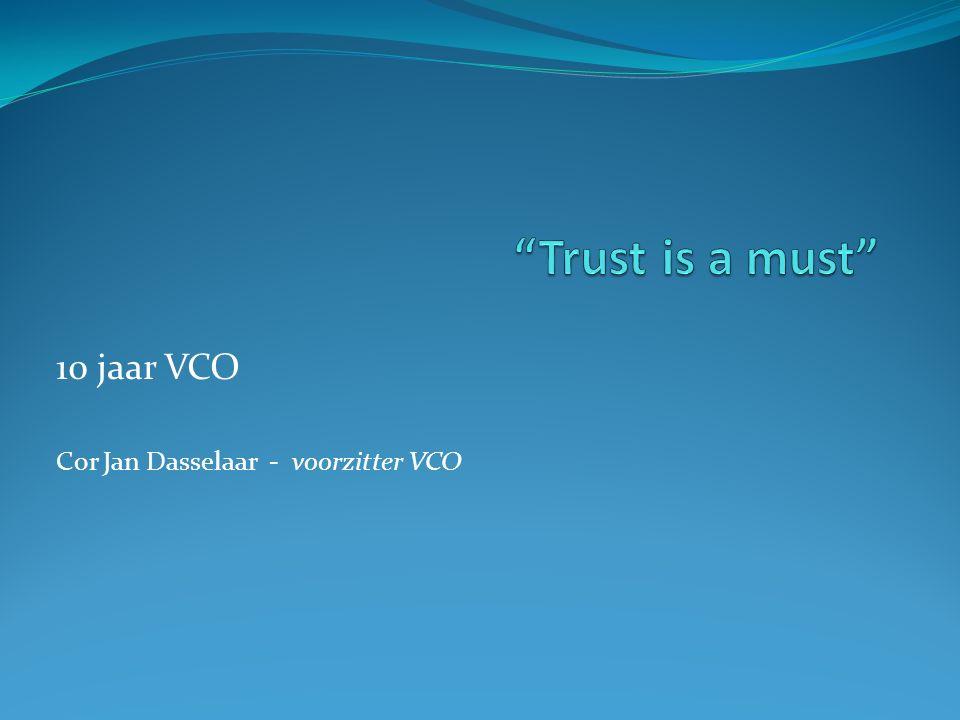 Trust is a Must 10 jaar VCO Ontwikkeling Compliance functie Belastingbetalers houden financiële instellingen overeind Impact voor Compliance op lange termijn Toekomst