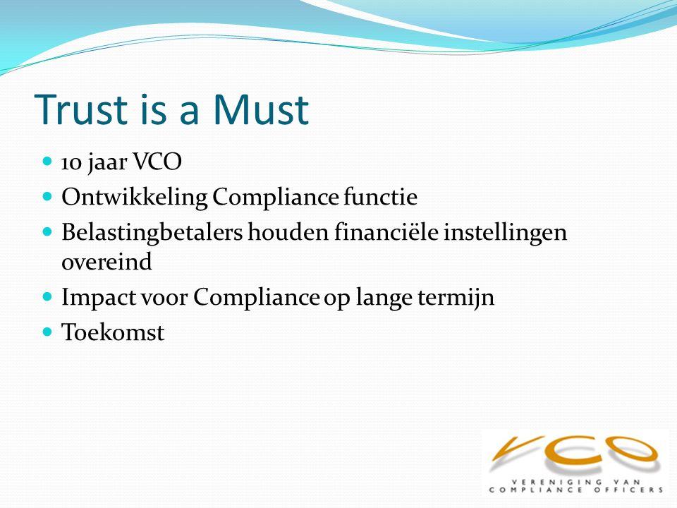 10 jaar VCO Kwartaalbijeenkomsten, jaarlijks seminar Meer dan 430 leden Introductie Compliance Professional Register Seminar nu ook open voor niet leden Voortdurende discussie lidmaatschapscriteria