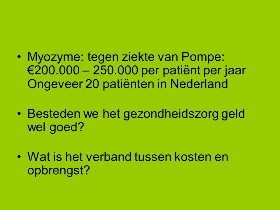 Myozyme: tegen ziekte van Pompe: €200.000 – 250.000 per patiënt per jaar Ongeveer 20 patiënten in Nederland Besteden we het gezondheidszorg geld wel goed.