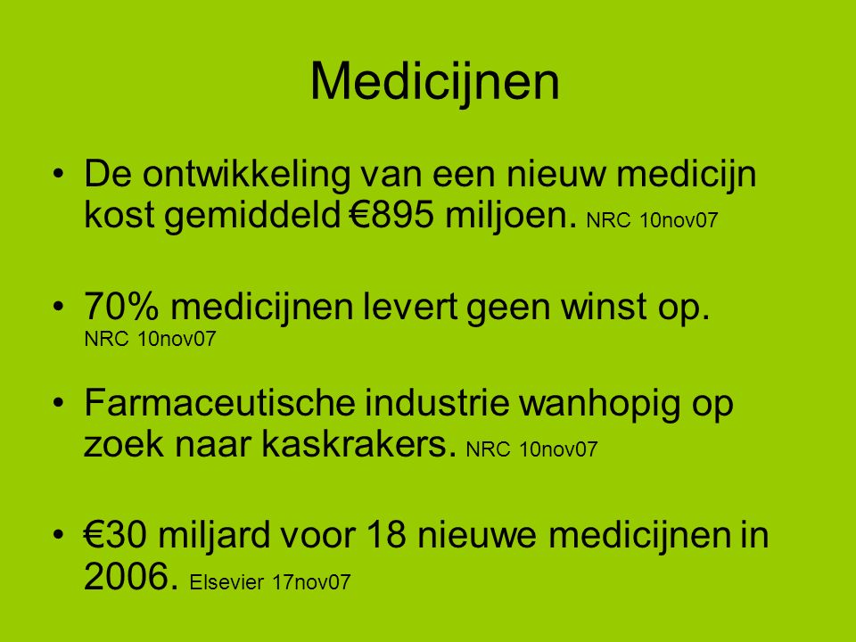 Medicijnen De ontwikkeling van een nieuw medicijn kost gemiddeld €895 miljoen.