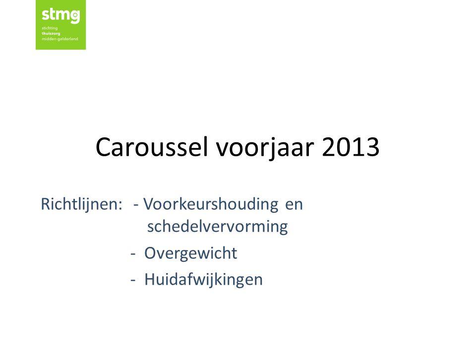Caroussel voorjaar 2013 Richtlijnen: - Voorkeurshouding en schedelvervorming - Overgewicht - Huidafwijkingen