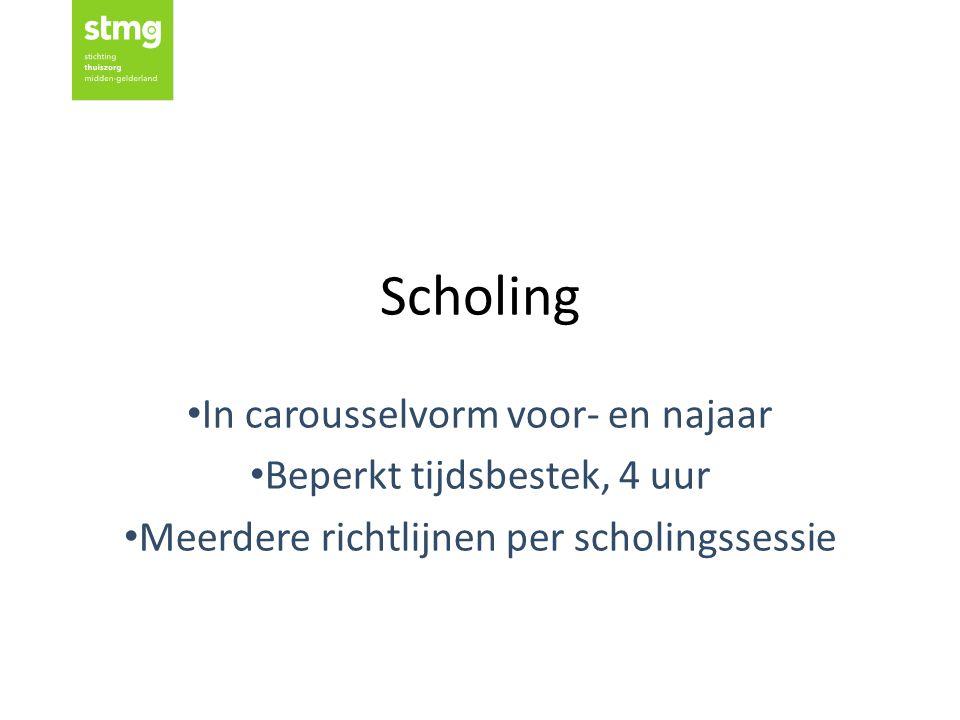 Scholing In carousselvorm voor- en najaar Beperkt tijdsbestek, 4 uur Meerdere richtlijnen per scholingssessie