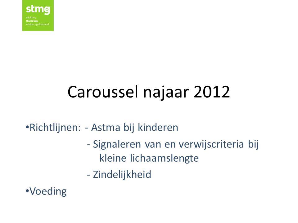 Caroussel najaar 2012 Richtlijnen: - Astma bij kinderen - Signaleren van en verwijscriteria bij kleine lichaamslengte - Zindelijkheid Voeding