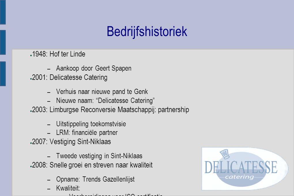 Bedrijfshistoriek ● 2009: JCI nominatie: – Geert Spapen ● Nominatie: Vlaamse Jonge Ondernemer 2009 ● 2010-2011: – Omzetstijging ● Vandaag: – Vanuit centrale keuken te Genk ● Dagelijks ca.