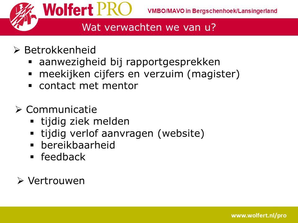 Wat verwachten we van u? www.wolfert.nl/pro VMBO/MAVO in Bergschenhoek/Lansingerland  Betrokkenheid  aanwezigheid bij rapportgesprekken  meekijken