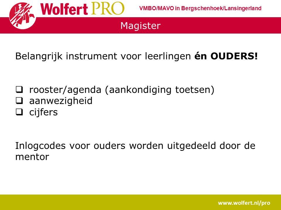 Magister www.wolfert.nl/pro Belangrijk instrument voor leerlingen én OUDERS!  rooster/agenda (aankondiging toetsen)  aanwezigheid  cijfers Inlogcod