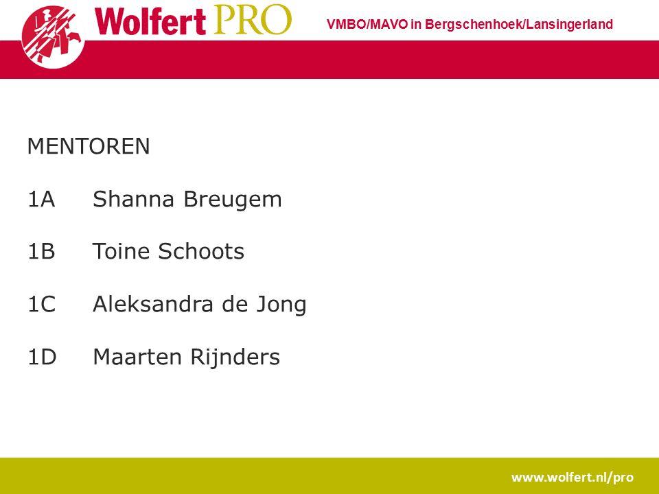 www.wolfert.nl/pro VMBO/MAVO in Bergschenhoek/Lansingerland MENTOREN 1AShanna Breugem 1BToine Schoots 1CAleksandra de Jong 1DMaarten Rijnders