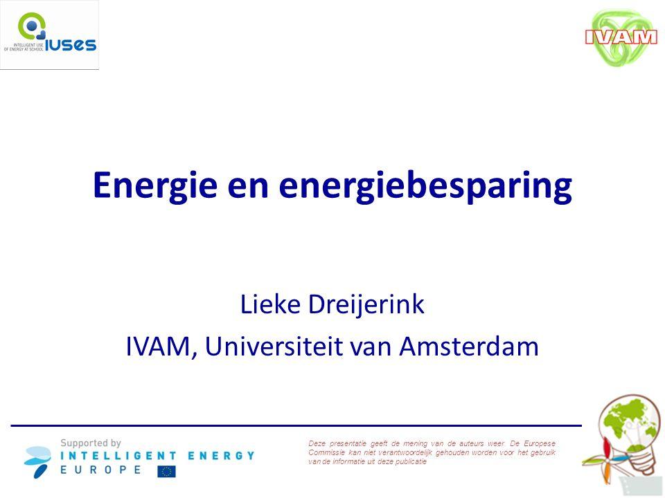 Energie en energiebesparing Lieke Dreijerink IVAM, Universiteit van Amsterdam Deze presentatie geeft de mening van de auteurs weer.
