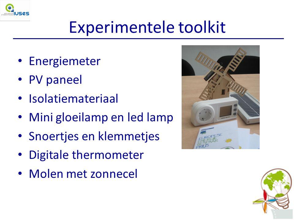 Experimentele toolkit Energiemeter PV paneel Isolatiemateriaal Mini gloeilamp en led lamp Snoertjes en klemmetjes Digitale thermometer Molen met zonnecel