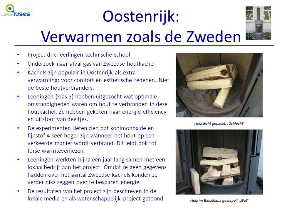 Oostenrijk: Verwarmen zoals de Zweden Project drie leerlingen technische school Onderzoek naar afval gas van Zweedse houtkachel Kachels zijn populair in Oostenrijk als extra verwarming: voor comfort en esthetische redenen.