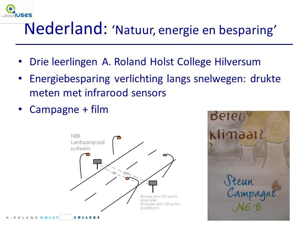 Nederland: 'Natuur, energie en besparing' Drie leerlingen A.