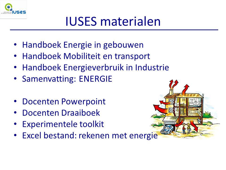 IUSES materialen Handboek Energie in gebouwen Handboek Mobiliteit en transport Handboek Energieverbruik in Industrie Samenvatting: ENERGIE Docenten Powerpoint Docenten Draaiboek Experimentele toolkit Excel bestand: rekenen met energie