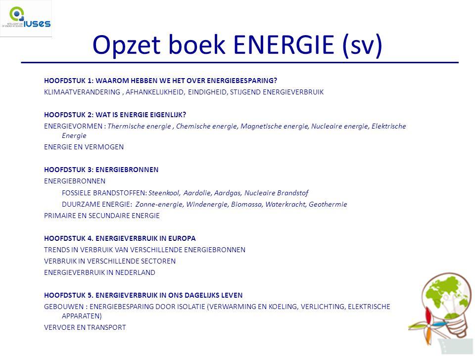 Opzet boek ENERGIE (sv) HOOFDSTUK 1: WAAROM HEBBEN WE HET OVER ENERGIEBESPARING.