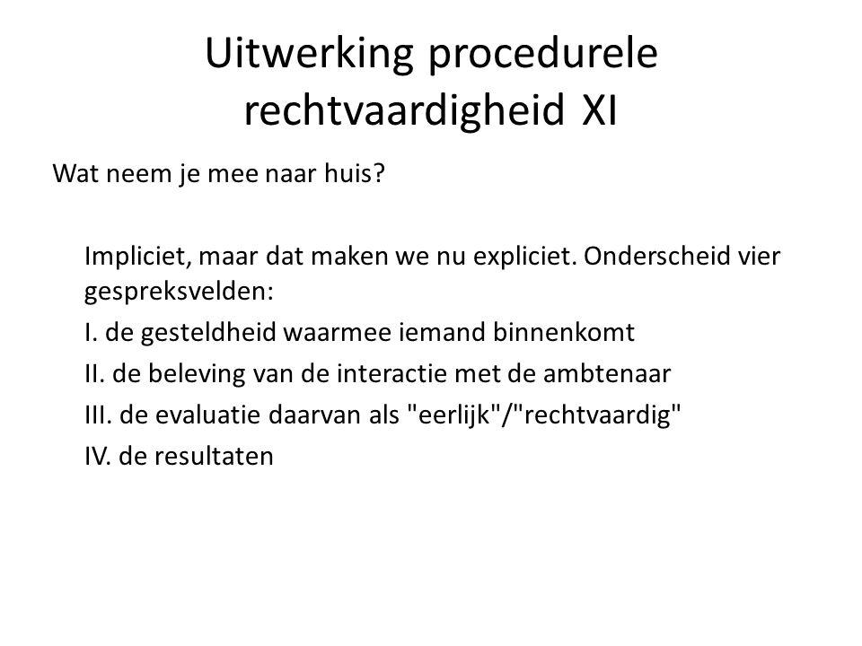 Uitwerking procedurele rechtvaardigheid XI Wat neem je mee naar huis.